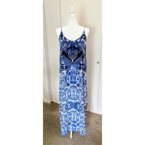 Express Abstract Ikat Print Strappy Maxi Dress